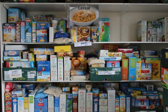 Food items are seen located on shelving