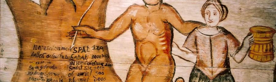 Malowidło w kościele w Słopanowie k. Szamotuł przedstawiające karczmarkę prowadzoną przez diabła do piekła