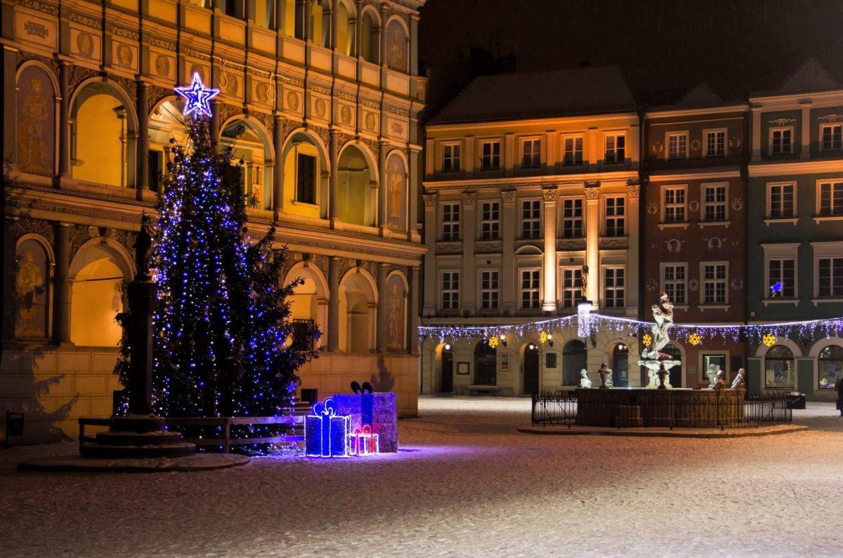 Betlejem Poznańskie, choinka bożonarodzeniowa na Starym Rynku obok ratusza