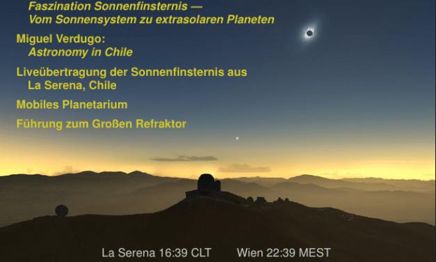 Astronomie: Livestream der totalen Sonnenfinsternis aus CHILE, am 2. Juli 19:00 an der Uni für Astrophysik