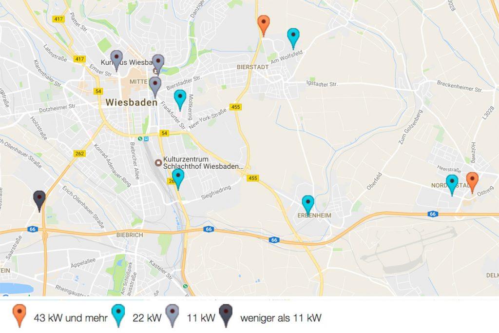Öffentliche E-Tankstellen in Wiesbaden. Bild: goingelectric