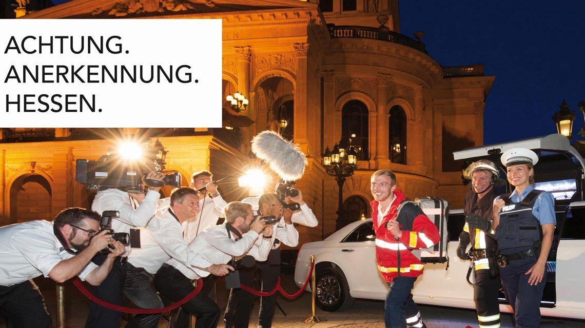 Menschen, die besondneres leisten, verdienen Respekt. Kampagnenmotiv des Landes Hessen.