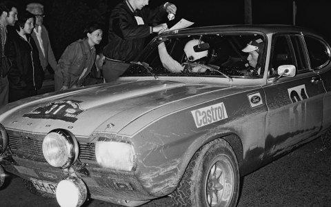 Walter Rörhl 1971 auf Ford Capri 2600 RS. Bild: Wiesbadener Automobilclub im AvD