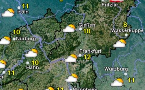Die Wetterkarte vom Deutschen Wetter Dienst zeigt Regen und Wolken. Bild: Deutcsher Wetter Dienst