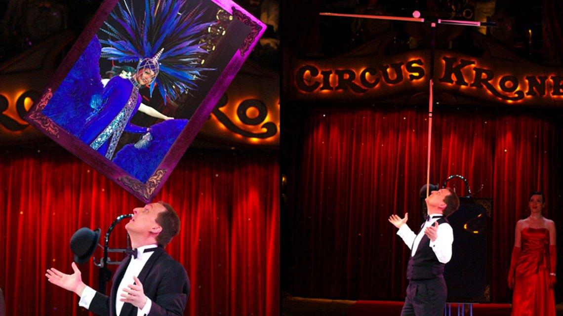 Jeton gehört in seiner Kunst zur Weltspitze. Das Bild zeigt ihn im Circus Krone. Bild: http://www.jeton.info/