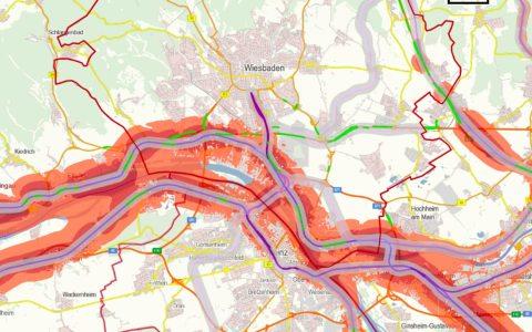 Lärmkarte für Schienenwege von Eisenbahnen im in und um Wiesbaden. Bild: Eisenbahn Bundesamt