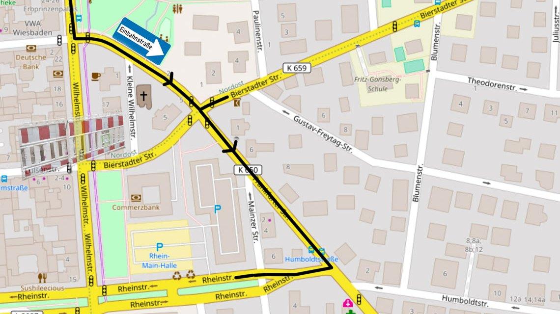 Frabkfurter Straße wird zur Einbahnstraße. Bild: Open Street / Volker Watschounek