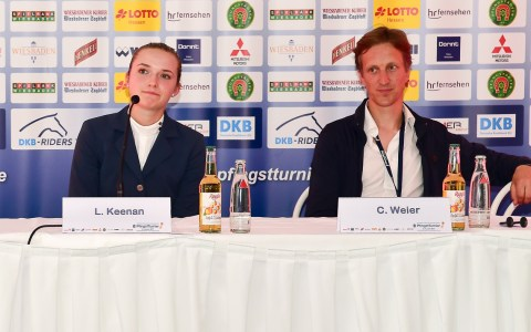 Lillie Keenan und Chrsitian Weier bei der Pressekonferenz nach dem Großen Lotto Preis. Bild: Volker Watschounek