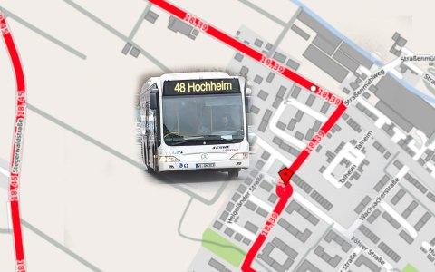 Uleitung der Buslinien 18, 39 und N12. Bild: Open Street / Volker Watschounek