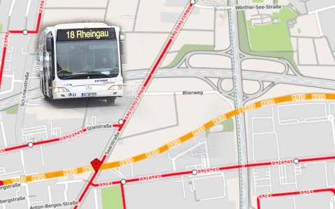 Wegen Fahrbahnsanierung der Saarstraße werden zahlreiche Busse umgeleitet. Bild: Open Street / Volker Watschounek