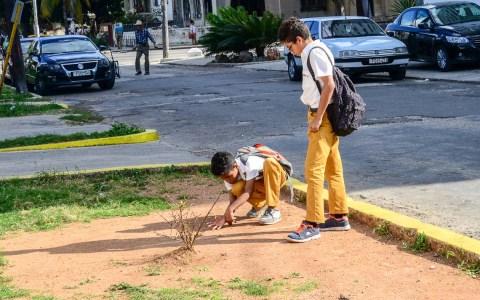 Spielende Kinder auf der Straße. Bild: Volker Watschounek