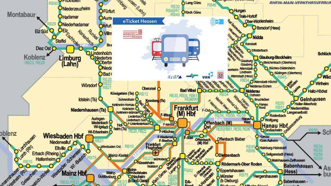 365-Euro Ticket, und Schülerticket ... grenzenloses fahren in ganz Hessen. Bild: RMV