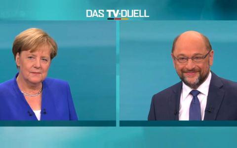 Angela Merkel und Martin Schulz im Duell. Bild: ZDF