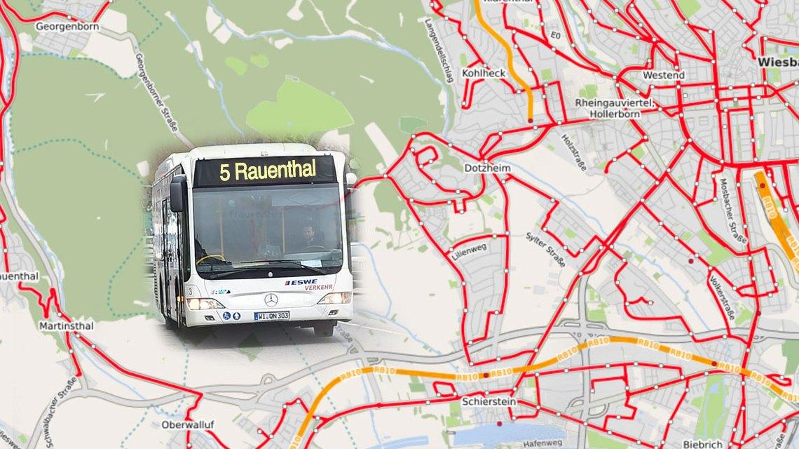 Die Linie 5 wird mit dem Fahrplanwechsel über den bisherigen Endpunkt Schierstein hinaus verlängert. ©2017 Open Street / Volker Watschounek