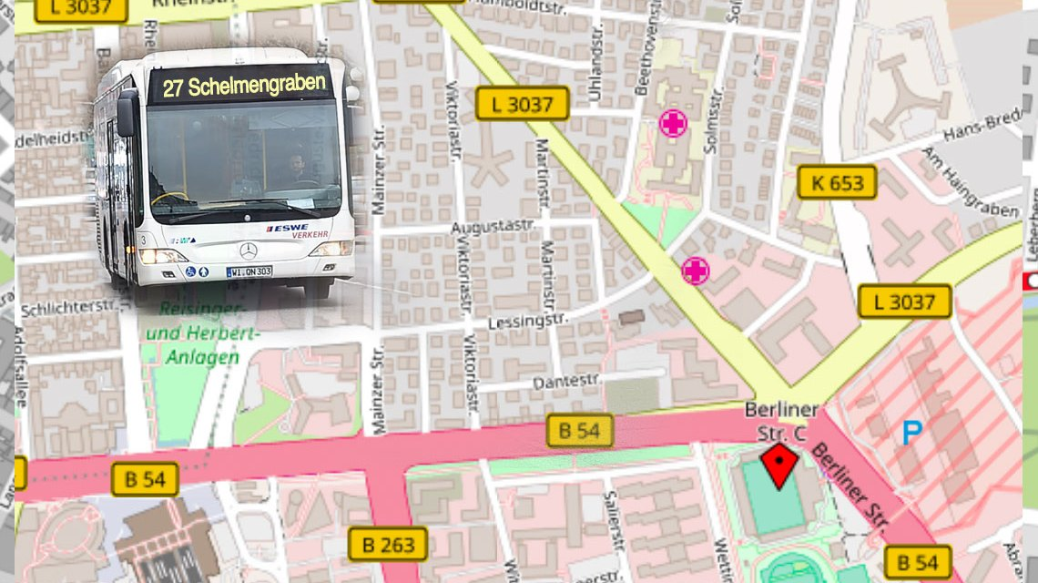 """Die Line 27 fährt wegen des Charity-Laufs zum Ball des Sports am Samstag, 3. Februar die Haltestellen """"Welfenstraße"""", """"Brunhildenstraße"""" und """"Berufsschulzentrum"""" nicht an. ©2018 Openstreetmap / Volker Watschounek"""