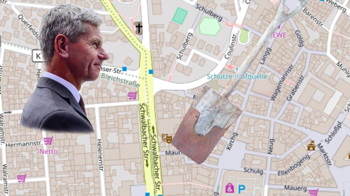 Die Neugestaltung der Fußgängerzone wird mit dem Umbau der Hochstättenstraße sowie des Gemeindebadgässchens nun endlich komplettiert. ©2018 Volker Watschounek / Open Street Map