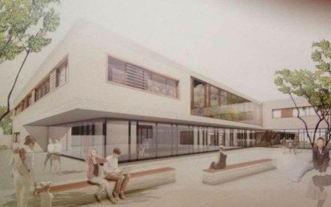 Zeichnung des Neubaus der Albert-Schweitzer-Schule. ©2018 Stadt Wiesbaden