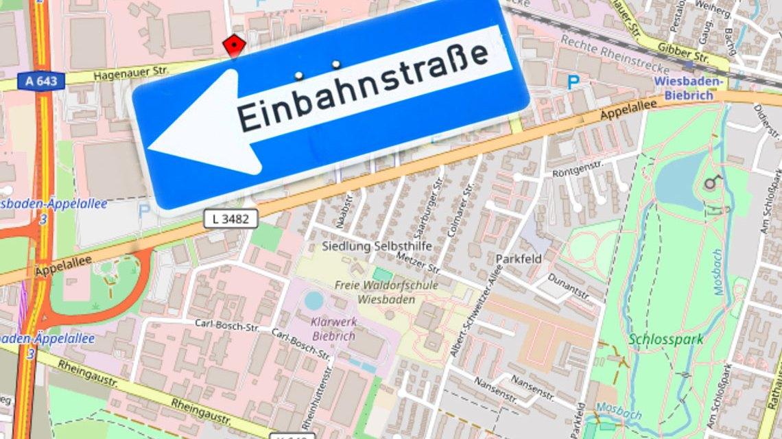 Äppelallee wird zur Einbahnstraße. ©2018 Open Street Map / Volker Watschounek