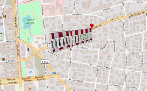 Vollsperrung in der Bierstadter Straße. ©2018 Openstreet Map