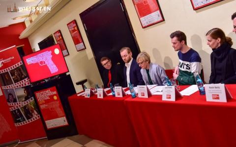 Pressekonferentz Fernsehkrimifestival v.l.n.r. Axel Imholz, Benjamin Dörr, Cathrin Ehrlich, Tom Winter, Laura Weber Foto: Volker Watschounek