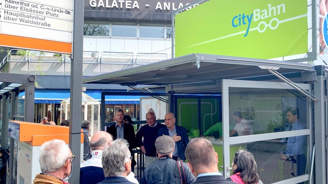 Dialogbox im Mai an der Galatea-Anlage ©2019 CityBahn