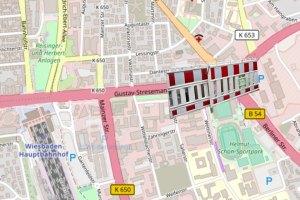 Verkehrsbeschränkungen am Gustav-Stresemann-Ring ©2019 Openstreetmap