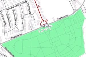 Siegfriedring und Südfriedhof ©2019 Openstreetmap