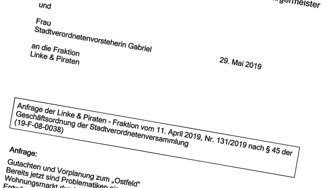Ostfeld, Anfrage der Linke & Piraten ©2019 Volker Watschounek