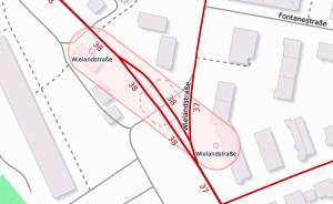 Bauarbeiten auf dem Kaiser-Friedrich-Ring. ©2019 Openstreetmap