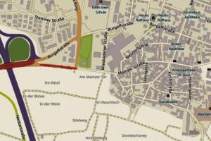 Mainzer Straße in Hochheim, Openstreetmap, Karte