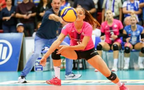 Klara Vyklicka beim Auswärtsspiel gegen Allianz MTV Stuttgart. ©2019 Detlef Gottwald