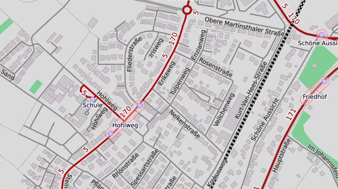 Behinderungen im Erikaweg in Walluff, Map, ©2019 Openstreetmap
