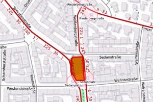 Kabelleerrohre für die Ampelanlagen unter der Kreuzung 1. Ring, Höhe Bleichstraße und am Sedanplatz werden erneuert. ©2019 Openstreetmap