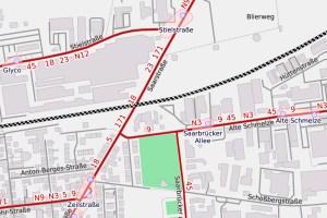 Saarstrasse in Schierstein an der Alten Schmelze ©2020 Openstreetmap