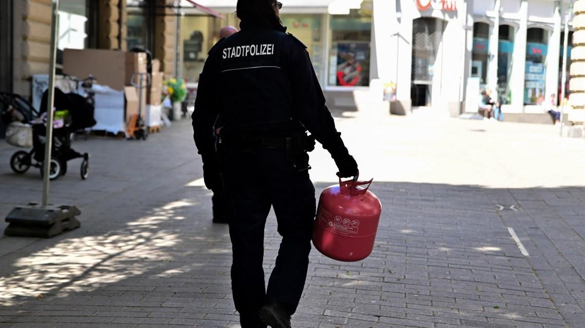 Stadtpolizei in Wiesbaden räumt auf