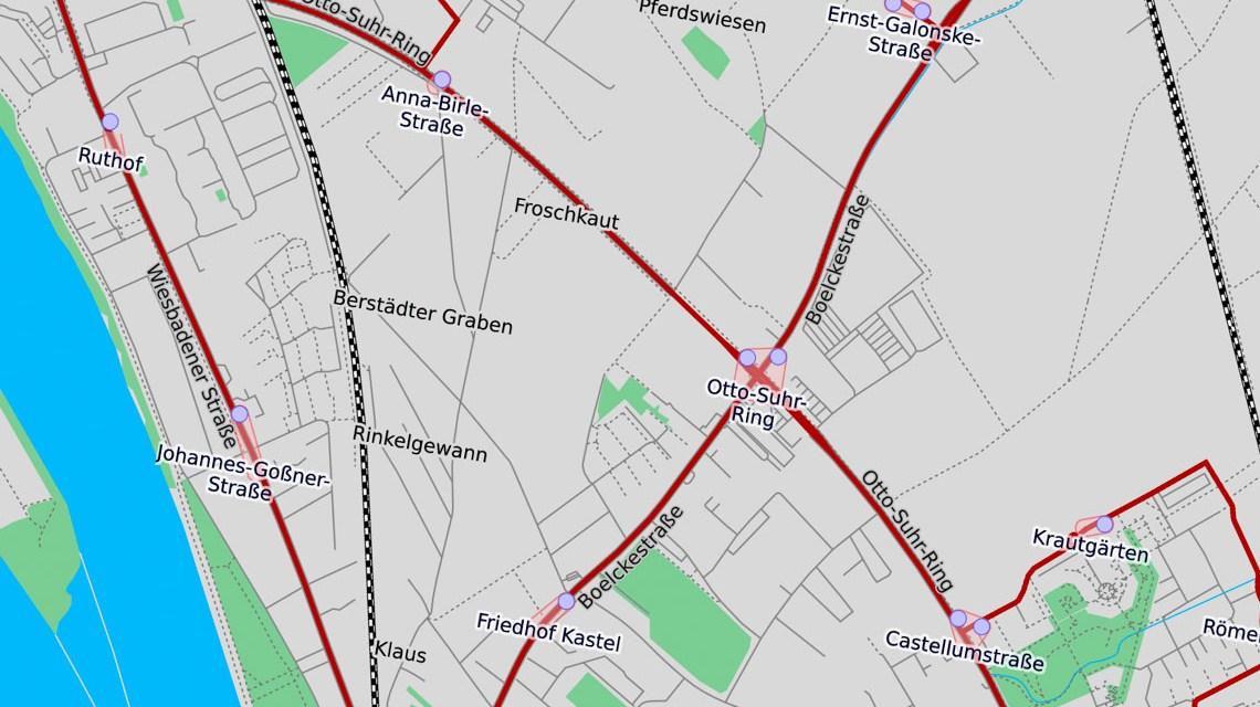 Boelckestraße :Verkehr in Richtung Kastel wechselt die Fahrbahnseite
