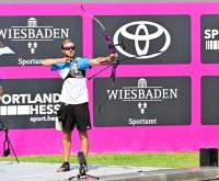 Florian Kahllund beim Deutschland Cup Bogensport 2020 am Bowling Green bei knapp 40 Grad.