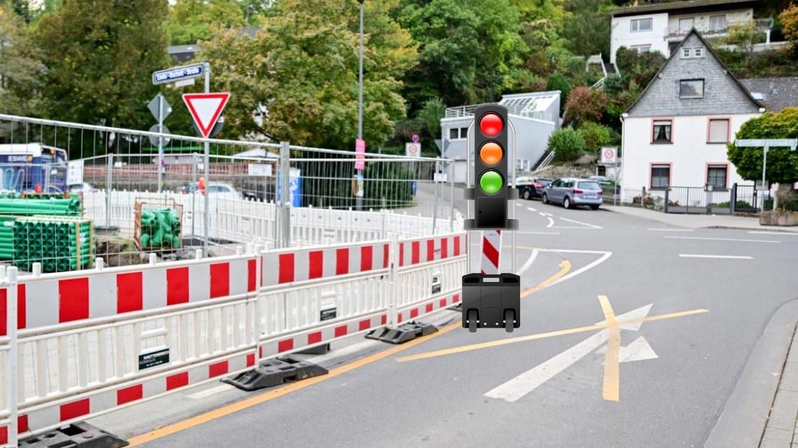 Mobile Ampel am Hofgartenplatz in Sonnenberg, Mobile Ampel An der Stadtmauer