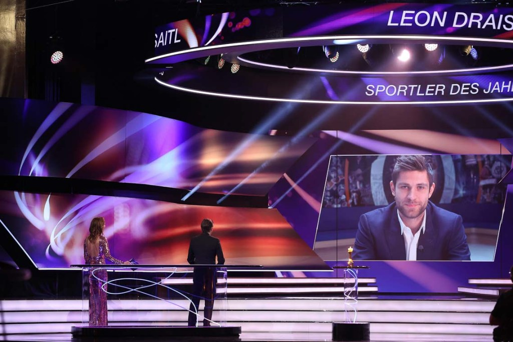 """Leon Draisaitl is awarded as """"Sportsman of the Year"""" during the """"Sportler des Jahres"""" Gala (German athlete of the year) at Kurhaus Baden-Baden on December 20, 2020 in Baden-Baden, Germany. (Photo by Alexander Hassenstein/Getty Images)"""