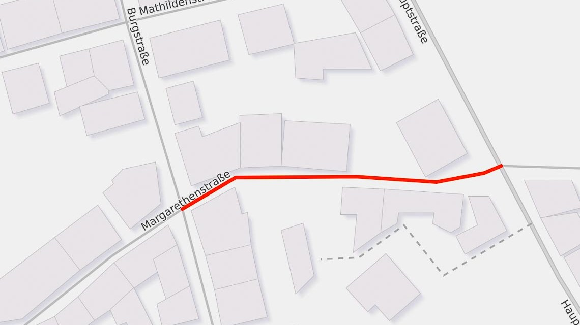 Vollsperrung der Margarethenstraße zwischen Burgstraße und Hauptstraße