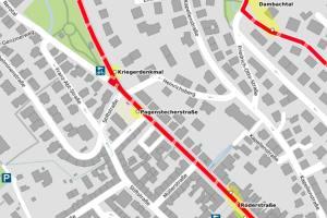 Vollsperrung der Straße Nerotal, Karte Openstreetmap