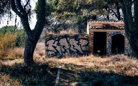 Vandalismus, Mit Graffitti beschmiertes haus in der Natur