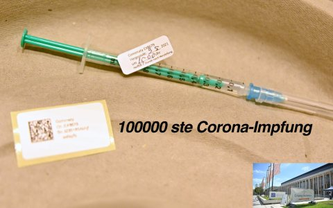 100000 ste Corona-Impfung im Impfzentrum Wiesbaden