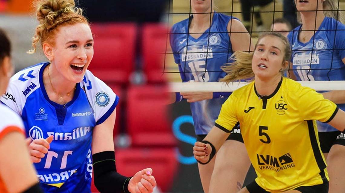 Lena Große Scharmann und Liza Kastrup schlagen für den VCW auf