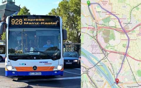 Neue Expressbuslinie 928 ©2021 Openstreetmap / Volker Watschounek