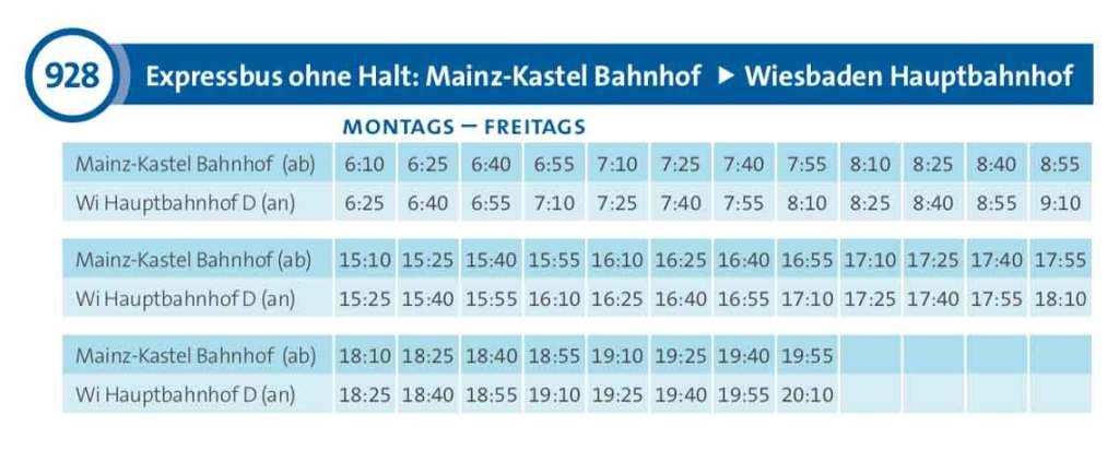 Fahrplan Buslinie 928 Mainz Kastel