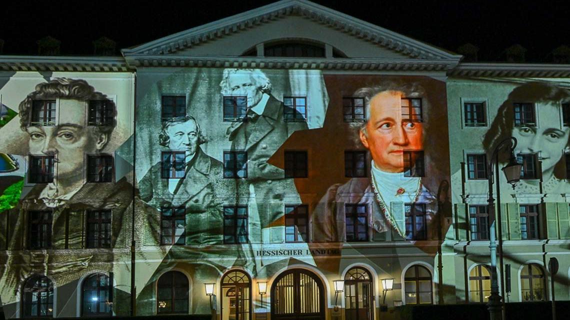 75 Jahre Hessen, Lichterschau am Hessischen Landtag