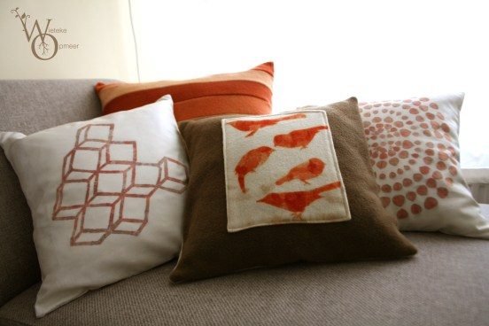 various silk and wool pillows from collection 'leaves impression'