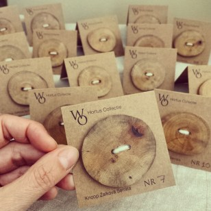large limited edition buttons from Zelkova serrata wood