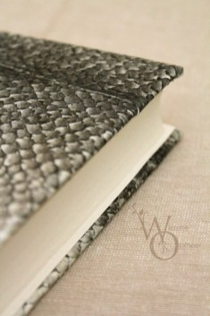 close up of fish leather notebook cover